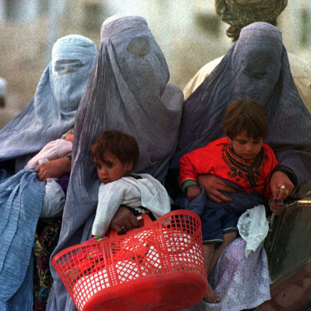 Afghan women and children fleeing the Taliban